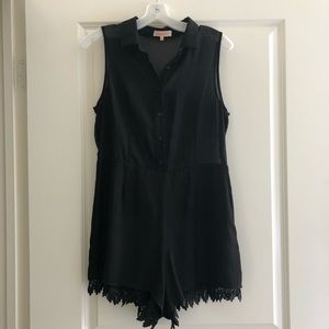 Black Sheer Collared Lace Romper